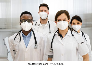 Medical Healthcare Doctor Group In Hospital Wearing FFP2 Face Mask