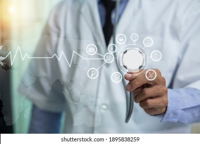 Medical Healthcare Research and Development Concept. doctor hand using medical interface icon