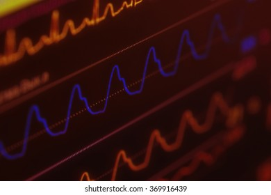 Medical heartbeat monitor with curves, concept of threat to life