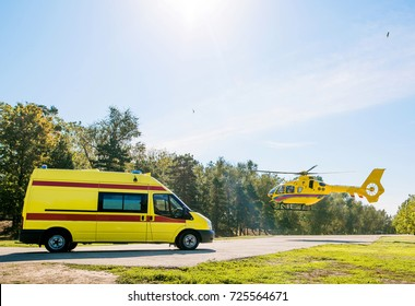 medical helicopter and car