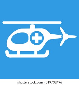Medical Helicopter glyph icon. Style is flat symbol, white color, rounded angles, blue background.