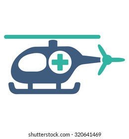 Medical Helicopter glyph icon. Style is bicolor flat symbol, cobalt and cyan colors, rounded angles, white background.