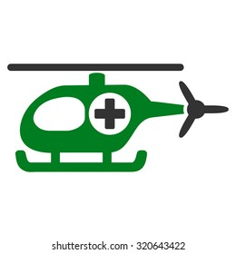 Medical Helicopter glyph icon. Style is bicolor flat symbol, green and gray colors, rounded angles, white background.