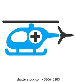 Medical Helicopter glyph icon. Style is bicolor flat symbol, blue and gray colors, rounded angles, white background.