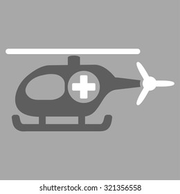 Medical Helicopter glyph icon. Style is bicolor flat symbol, dark gray and white colors, rounded angles, silver background.