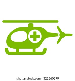 Medical Helicopter glyph icon. Style is flat symbol, eco green color, rounded angles, white background.