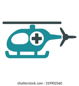 Medical Helicopter raster icon. Style is bicolor flat symbol, soft blue colors, rounded angles, white background.