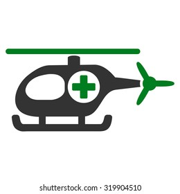 Medical Helicopter raster icon. Style is bicolor flat symbol, green and gray colors, rounded angles, white background.