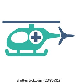 Medical Helicopter raster icon. Style is bicolor flat symbol, cobalt and cyan colors, rounded angles, white background.