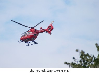 Medical helicopter. SMURD helicopter in mission. SMURD is an emergency rescue service based in Romania. Romania, Craiova. The helicopter took off from the scene of the accident. August, 14, 2020
