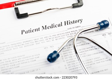 medical history with stethoscope