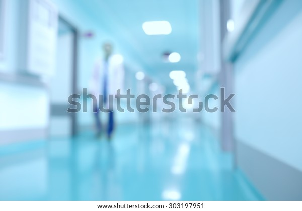 Medical and hospital corridor defocused background with modern laboratory (clinic)
