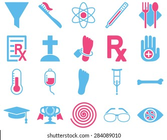 Medical icon set. Style: bicolor icons drawn with pink and blue colors on a white background.