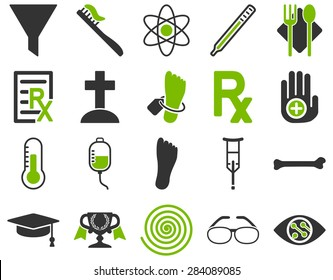 Medical icon set. Style: bicolor icons drawn with eco green and gray colors on a white background.
