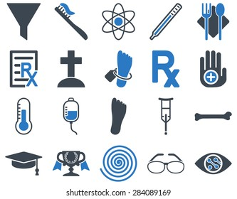 Medical icon set. Style: bicolor icons drawn with smooth blue colors on a white background.