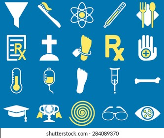 Medical icon set. Style: bicolor icons drawn with yellow and white colors on a blue background.