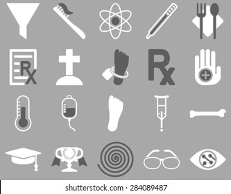 Medical icon set. Style: bicolor icons drawn with dark gray and white colors on a gray background.