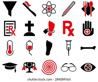 Medical icon set. Style: bicolor icons drawn with intensive red and black colors on a white background.