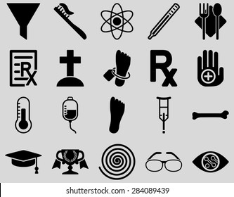 Medical icon set. Style: icons drawn with black color on a light gray background.