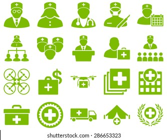 Medical icon set. Style: icons drawn with eco green color on a white background.