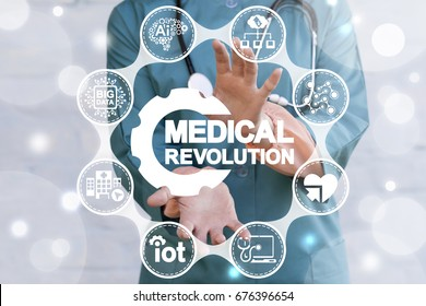Medical Industry 4.0 Revolution Information Technology Methodology Integration Development Smart Health Care Concept. Doctor offers medical revolution gear icon on virtual screen.