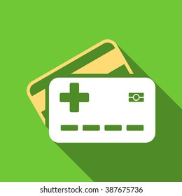 Medical Insurance Cards long shadow raster icon. Style is a flat symbol with rounded angles on a green square symbol.