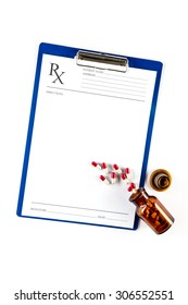 Medical insurance and healthcare, RX form with Capsules and clipboard