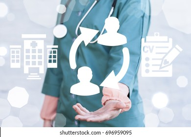 Medical Job Rotation concept. Healthcare Human Resources. Hospital Staff Switch HR. Doctor offers circular arrows people icon on a virtual graphical user interface.