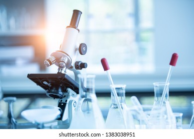 Medical laboratory microscope in chemistry biology lab test. Scientific research and development and healthcare concept