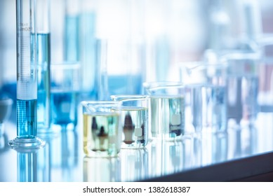 Medical laboratory test tube in chemistry biology lab test. Scientific research and development and healthcare concept background