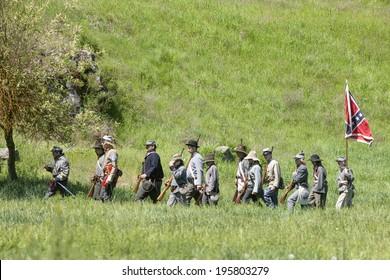 MEDICAL LAKE, WA USA - May 24, 2014. Civil war reenactment of Deep creek battle near Medical Lake, Washington on May 24, 2014.