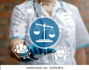 Medical law and justice concept. Doctor presses scales icon on virtual screen. Medicine judge's. Health care balance. Litigation in medicine. Judicial healthy technology