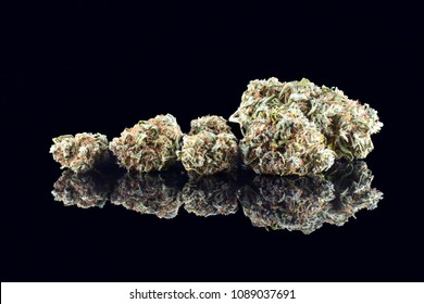 Medical marijuana bud isolated on black background. Therapeutic and medicinal cannabis weed with reflection close up