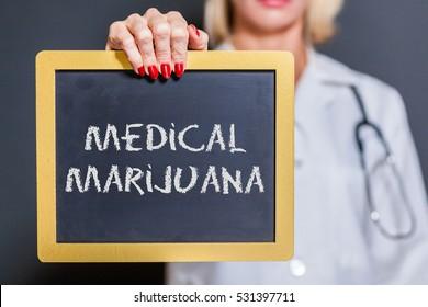 Medical Marijuana Chalkboard Sign Held By Female Doctor.