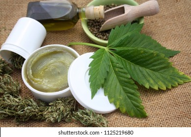 Medical marijuana concept, hemp cannabis natural products