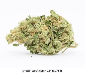 Medical marijuana flower close up. Cannabis bud photography for dispensary menu. Medical marijuana strain. Weed bud, weed flower.
