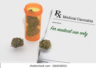 Medical marijuana in an orange pill container to represent cannabis available through a doctor's prescription. The medical cannabis is for medical use only  for health care patients with a card.