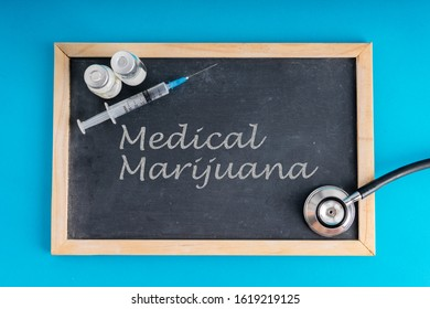 Medical marijuana text on a chalkboard.