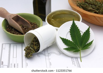Medical marijuana use, healing marijuana concept, prescription and legalization of hemp herb for treatment