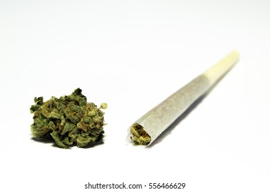 Medical marijuana weed bud with rolled joint