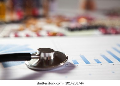 Medical marketing and Health care business analysis report. Medical marketing concept.