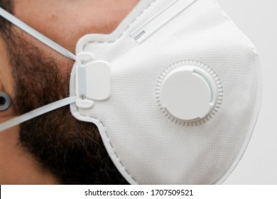 medical mask on guy face with beard