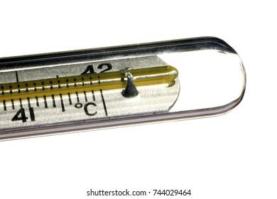 Medical mercury thermometer. White isolated background.