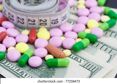 Medical meter and pills on dollars