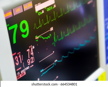 Medical monitor machine in operation room show normal vital sign of the patient
