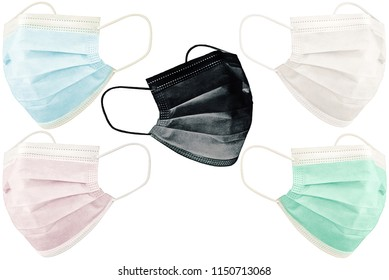 Medical multi-colored masks on isolated background. Surgical Ear-Loop Mask on White