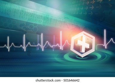 Medical News Background, Suitable for Healthcare and Medical News Topic, Earth Globe Inside Waves  Circles, Digital Data's and World Dot map at Background. 3d Render, 3d Illustration