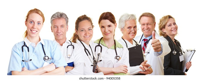 Medical nursing team with doctors, nurses and caregivers