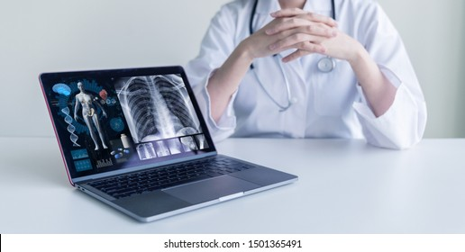 Medical occupation concept. EMR. Electronic medical record.