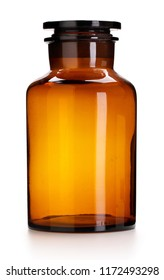 Medical, pharmacy or chemical jar, white background and clipping path